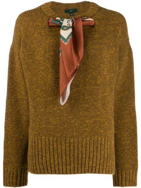 Jejia Scarf Neck Sweater In Brown