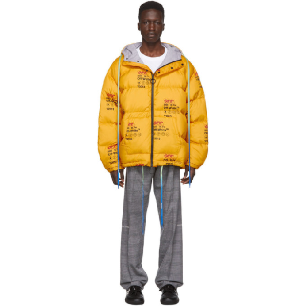 Off-white Industrial Logo-print Quilted Down Jacket In 6000 Ylwno