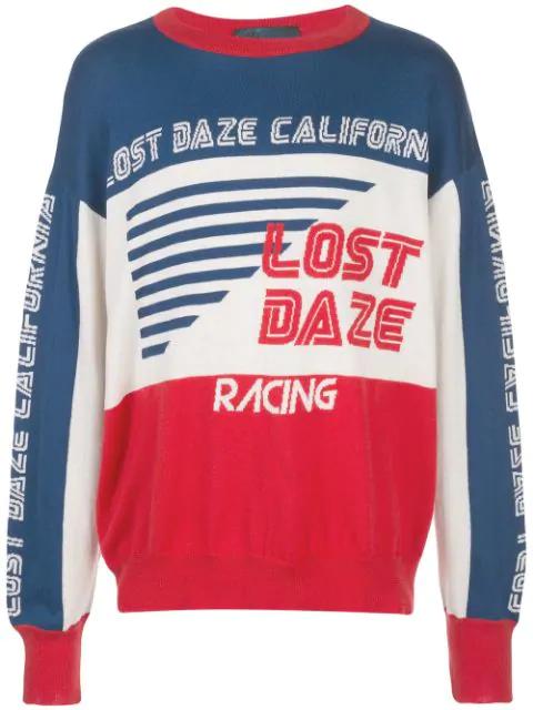 Lost Daze Colour Block Jumper In Blue