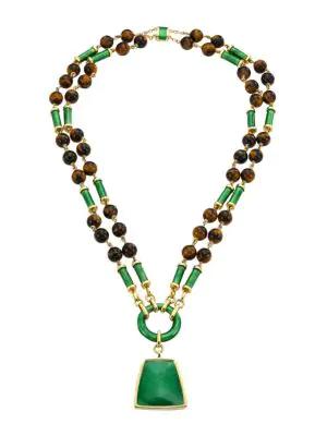 David Webb Colors 18k Yellow Gold, Tiger's Eye & Enamel Long Beaded Pendant Necklace