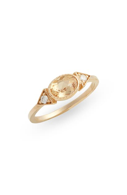 Jennie Kwon Designs Topaz Long Spear Ring In Yellow Gold/ Topaz