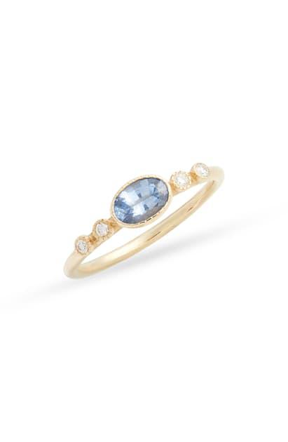 Jennie Kwon Designs Dew Ceylon Sapphire & Diamond Ring In Yellow Gold/ Sapphire