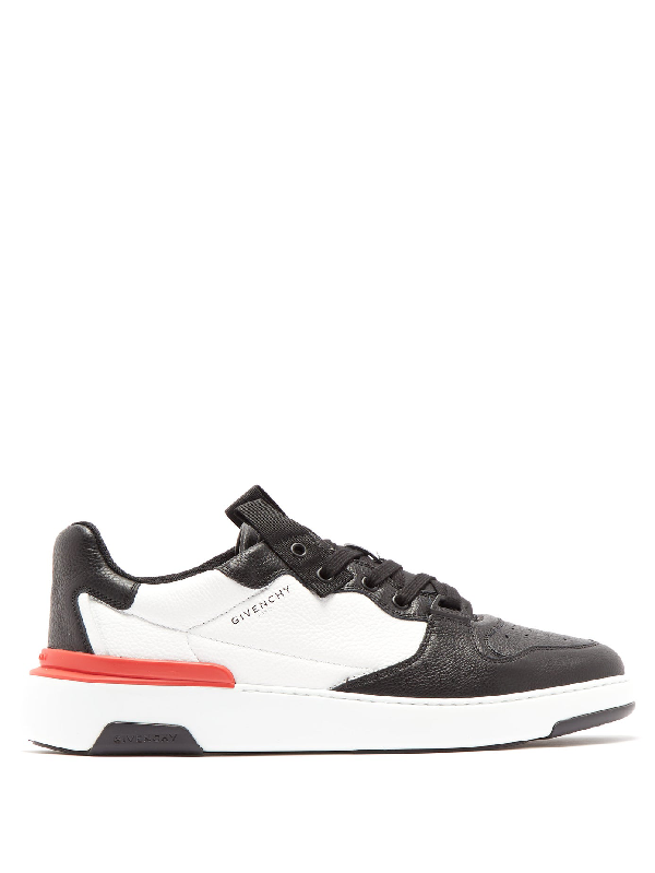 Givenchy Low-top Sneakers Wing Low Calfskin Logo Black White Red In Black/white