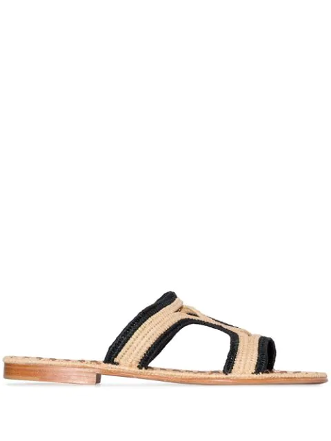 Carrie Forbes Black And Neutral Moha Raffia Sandals
