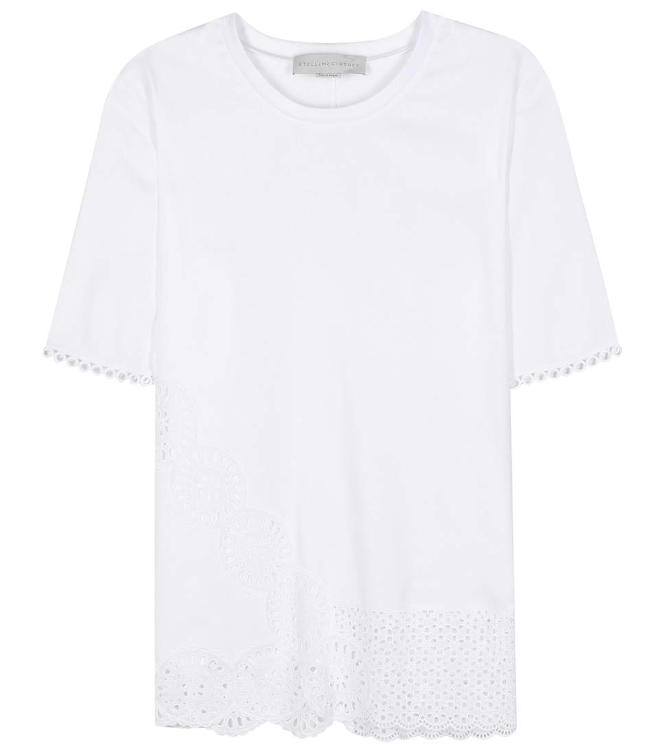 Stella Mccartney Molly Broderie Anglaise-trimmed Cotton-blend T-shirt In White