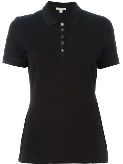 Burberry Check Trim Stretch Cotton Pique Polo Shirt In Black