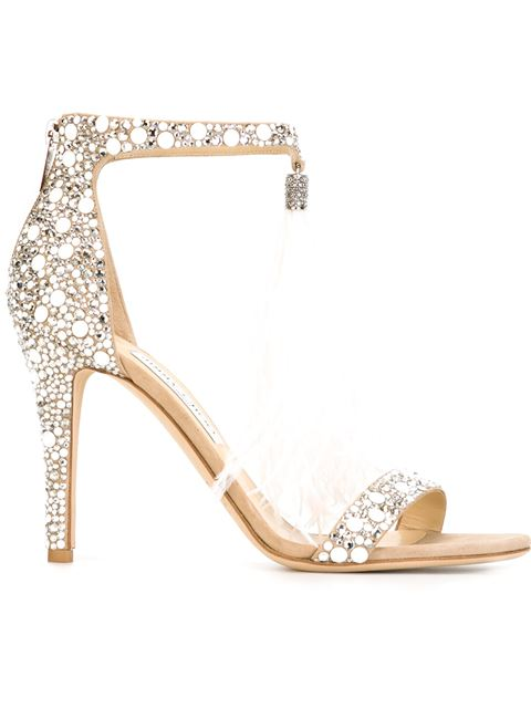 666a045ed1a Jimmy Choo Viola 110 White Suede And Hot Fix Crystal Embellished Sandals  With An Ostrich Feather