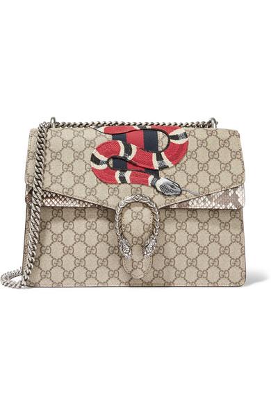 Gucci Dionysus Medium AppliquÉd Coated-canvas And Python Shoulder Bag