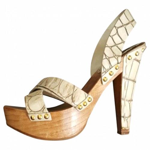 Miu Miu Beige Leather Sandals