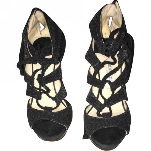 Jimmy Choo Navy Glitter Sandals