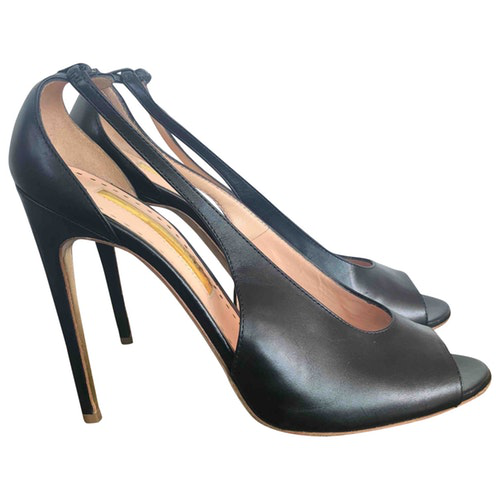 Rupert Sanderson Black Leather Sandals