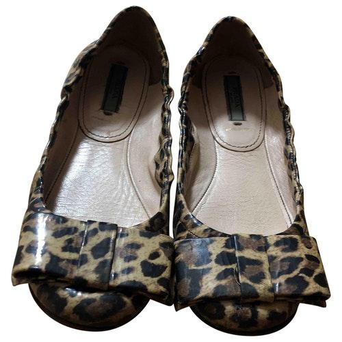 Prada Beige Leather Ballet Flats