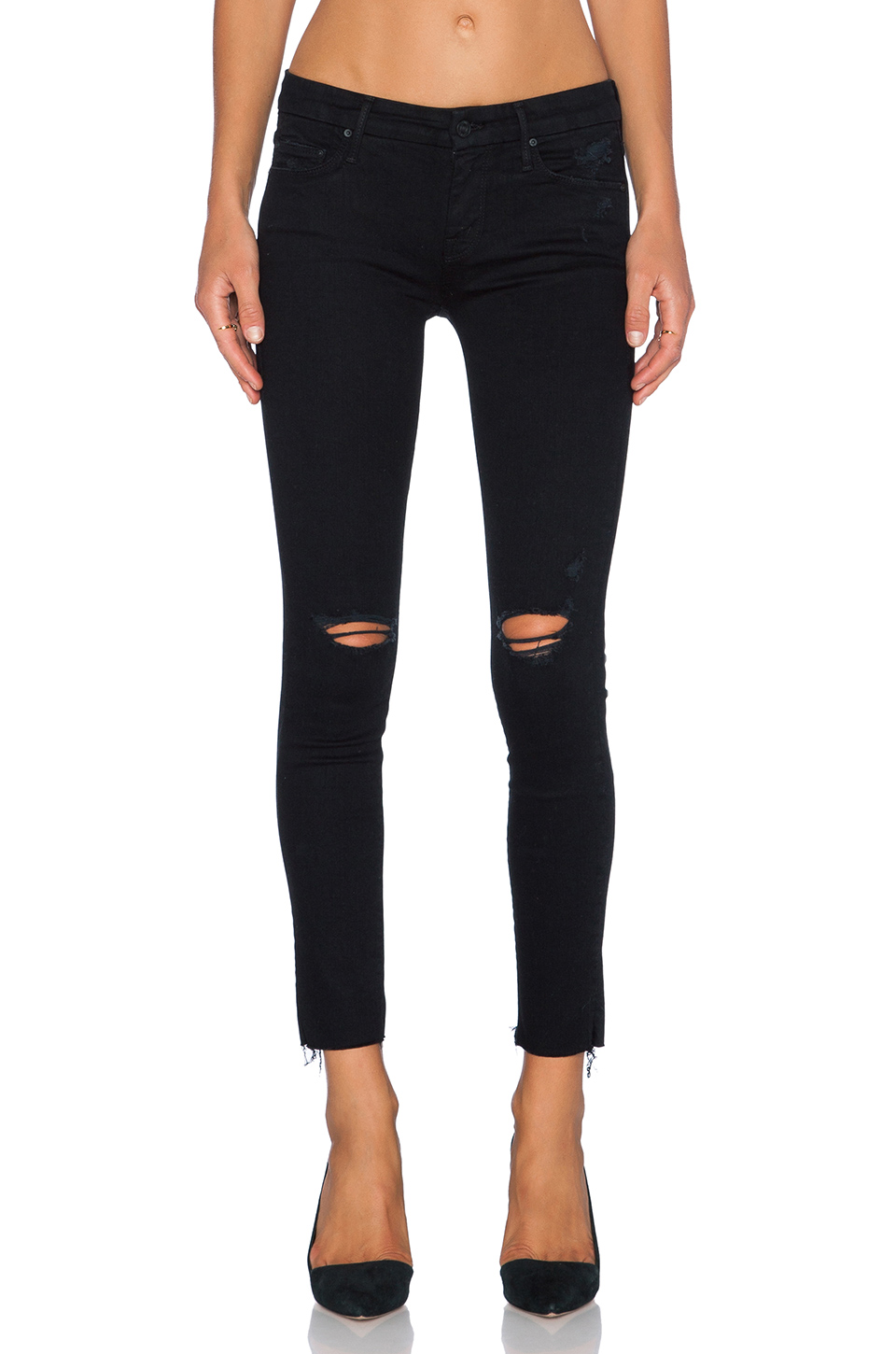 Mother 'the Looker' Frayed Ankle Skinny Jeans (guilty As Sin) In Black