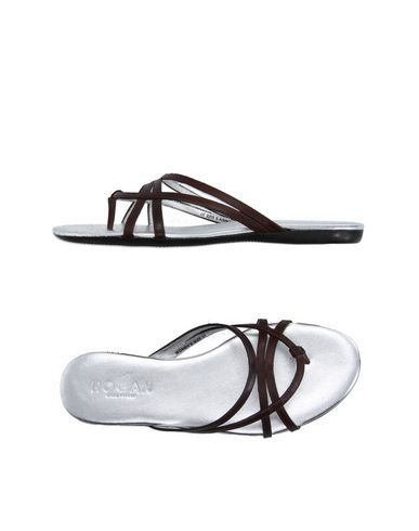 Hogan Toe Strap Sandals In Cocoa