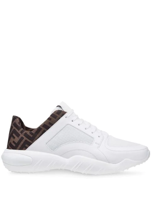 Fendi Low -rise Sneakers In Ff Technical Fabric In White ,brown