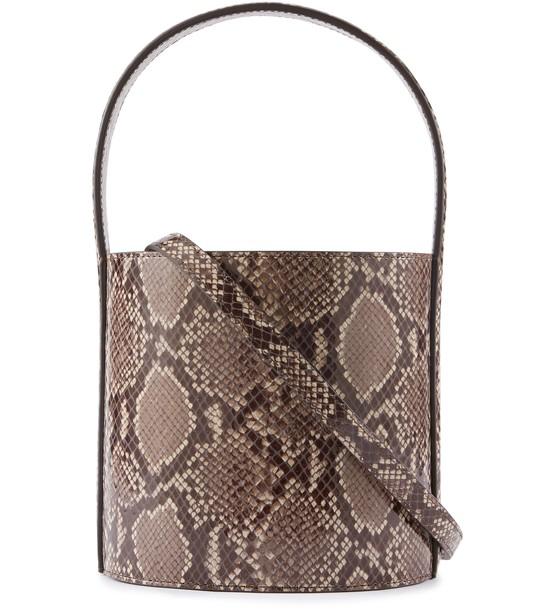 Staud Bissett Snakeskin-embossed Leather Bucket Bag In Brown