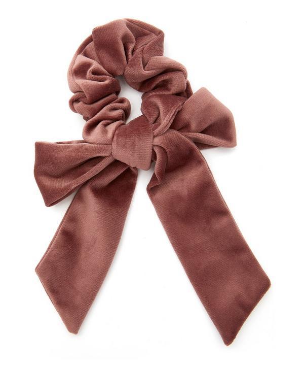 The Uniform Velvet Bow Scrunchie In Blush