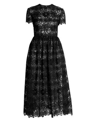 Valentino Floral Lace Organza Midi Dress In Nero