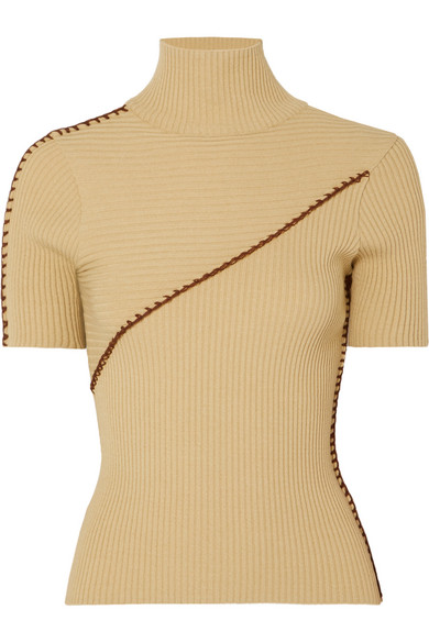 Andersson Bell Paneled Ribbed Turtleneck Sweater In Neutral
