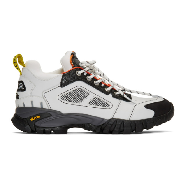 Heron Preston Security Low Top Leather Sneakers In 0200 Offwht