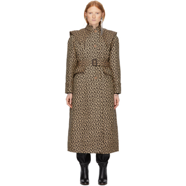 Gucci Gg Rhombus Trench Coat With Removable Cape In 2254 Beige