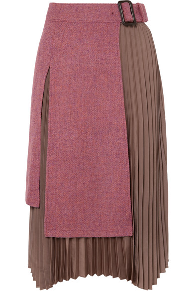 Andersson Bell Layered Wool-tweed And Pleated Satin Midi Skirt In Pink