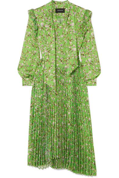 Andersson Bell Scarf-detail Pleated Floral-print Crepe Midi Dress In Green