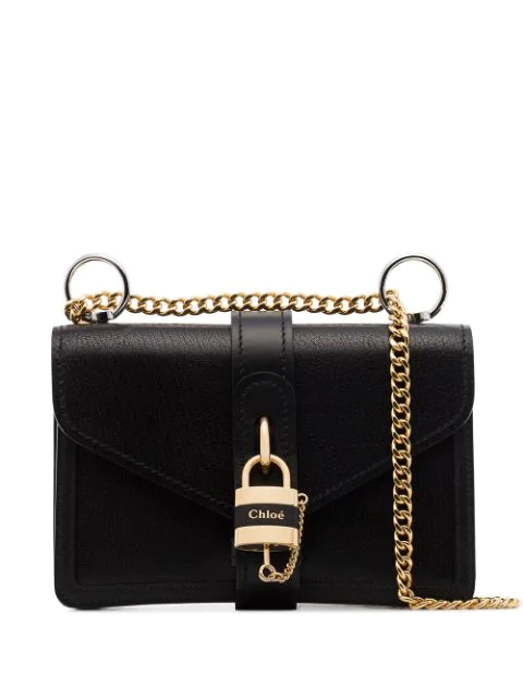 Chloé Aby Chain Mini Textured-leather Shoulder Bag In 001 Black