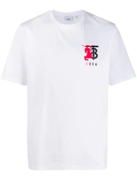 Burberry Logo刺绣纯棉平纹针织t恤 In White