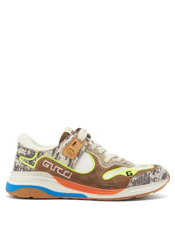 Gucci Low-top Sneakers 1lh1o Calfskin Logo Beige-combo In Brown