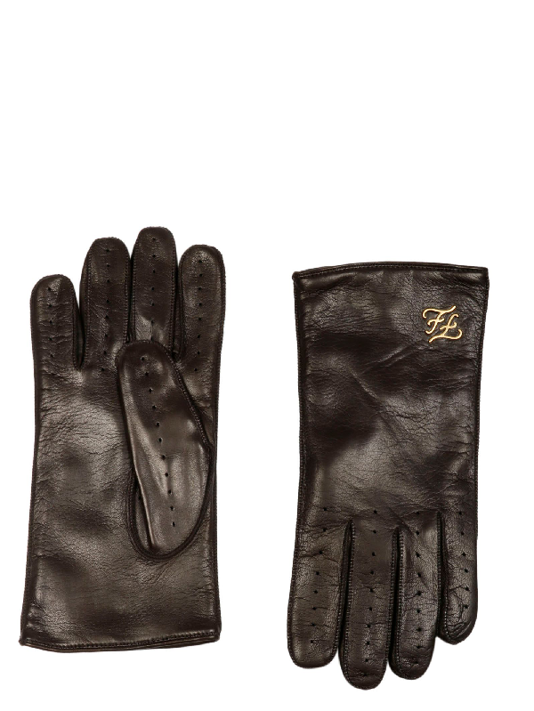 Fendi Brown Leather Gloves