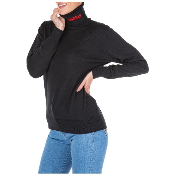 Gcds Women's Jumper Sweater Turtle Neck In Black