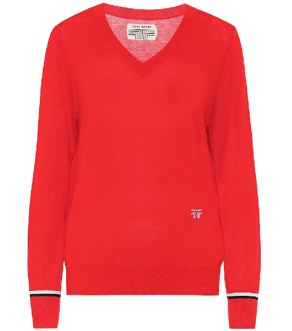 Tory Sport Wool-blend Sweater In Red
