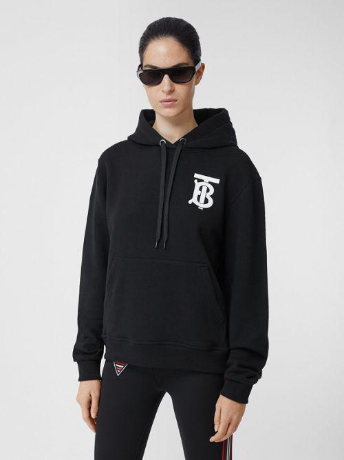 Burberry Monogram Motif Cotton Hoodie In Black