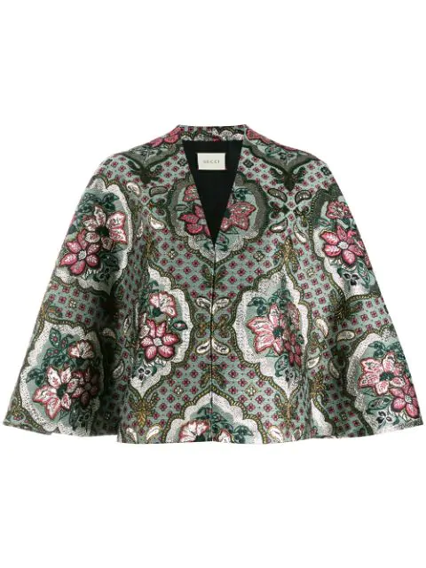 Gucci Geometric Floral Jacquard Cape In Grey