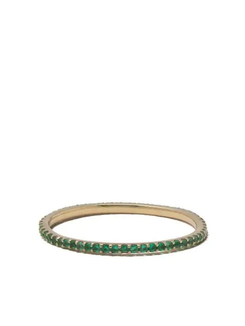 White Bird 18kt Yellow Gold Emerald Solange Ring In Gold / Green
