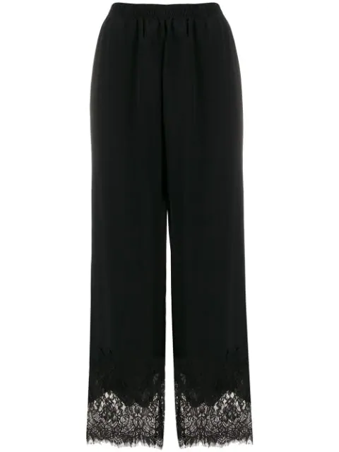 Gold Hawk Lace Panels Track Trousers In Black