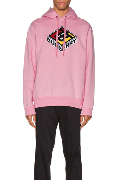 Burberry Logo刺绣纯棉平纹针织卫衣 In Candy Pink