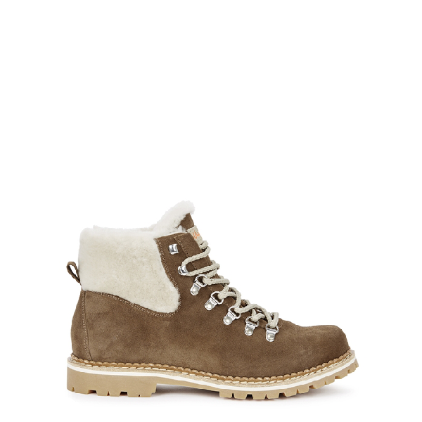 Montelliana Camelia Shearling-lined Ankle Boots In Tan