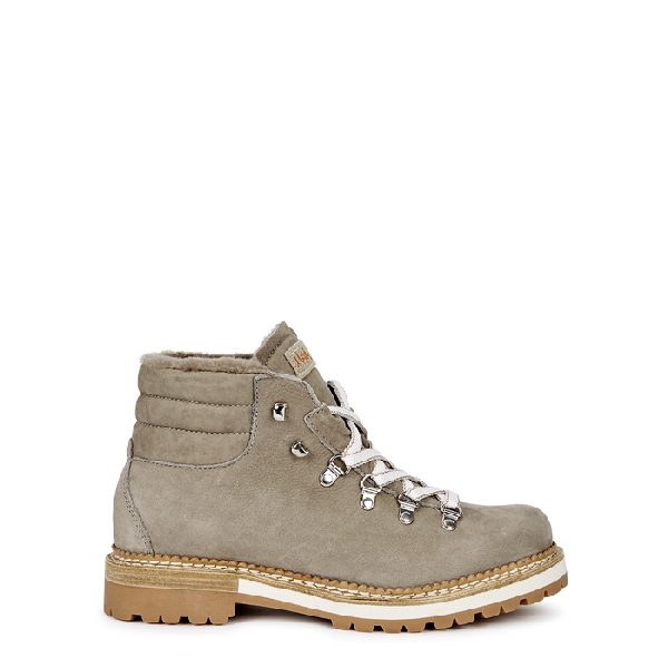 Montelliana Marlena Shearling-lined Suede Ankle Boots In Grey