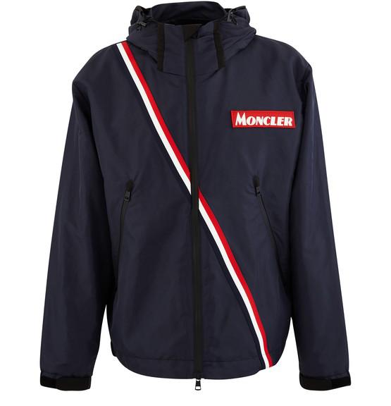 Moncler Trakenhner Tricolour-stripe Technical Jacket In Navy