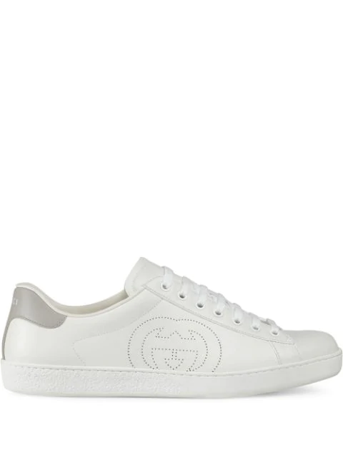 Gucci 白色 And 灰色 Interlocking G New Ace 运动鞋 In White