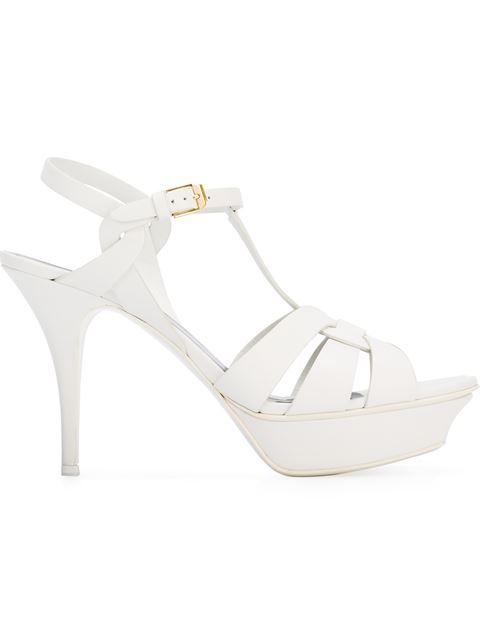 Saint Laurent Tribute 75mm Leather Platform Sandals In White