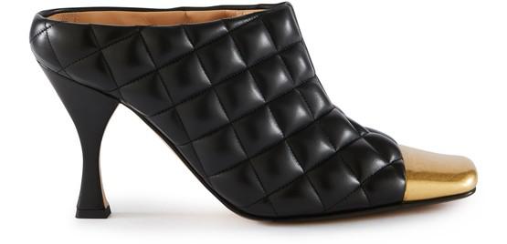 Bottega Veneta Stitched MatelassÉ Heeled Mules In Black