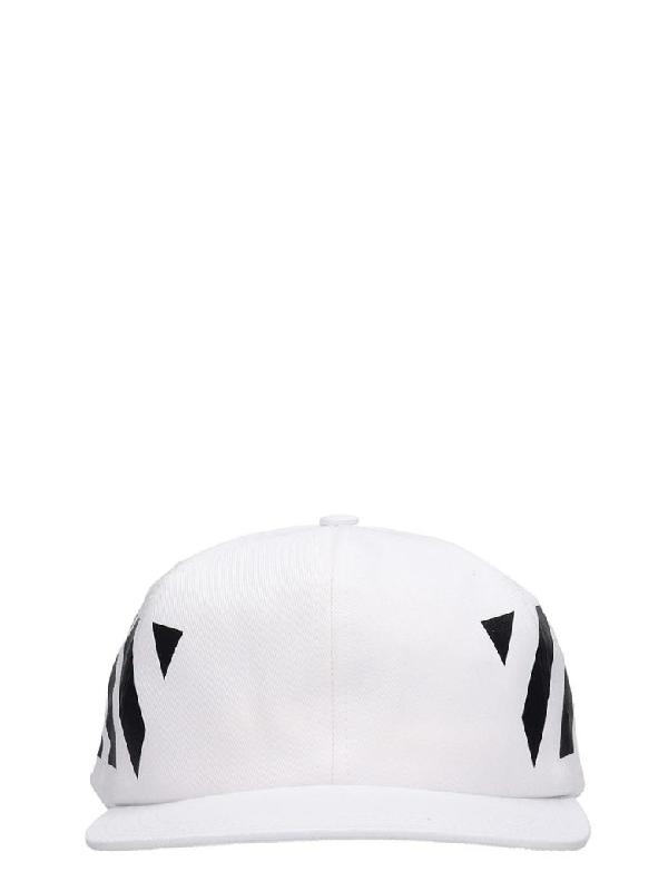 Off-white Diagonal Stripe-logo Cotton Baseball Cap In White ,black
