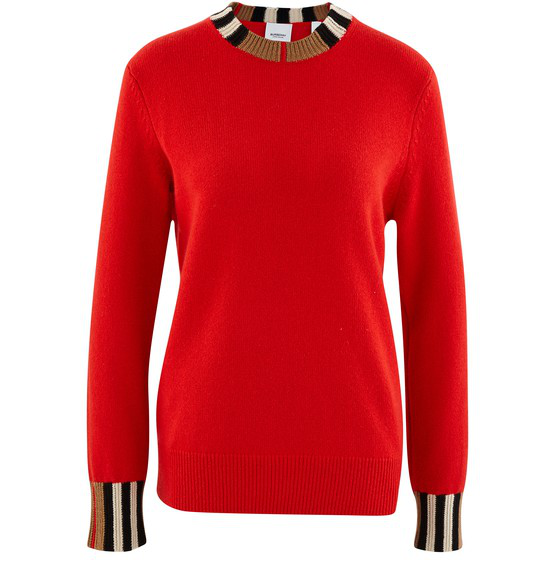 Burberry Eyre Icon-striped Cashmere Sweater In Red