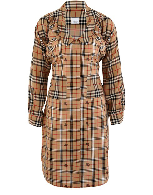 Burberry Vintage Check Silk And Cotton Shirt Dress In Neutrals