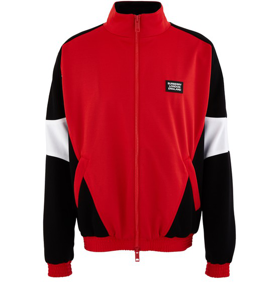 Burberry Color-block Jersey And Neoprene Track Suit Jacket In Bright Red