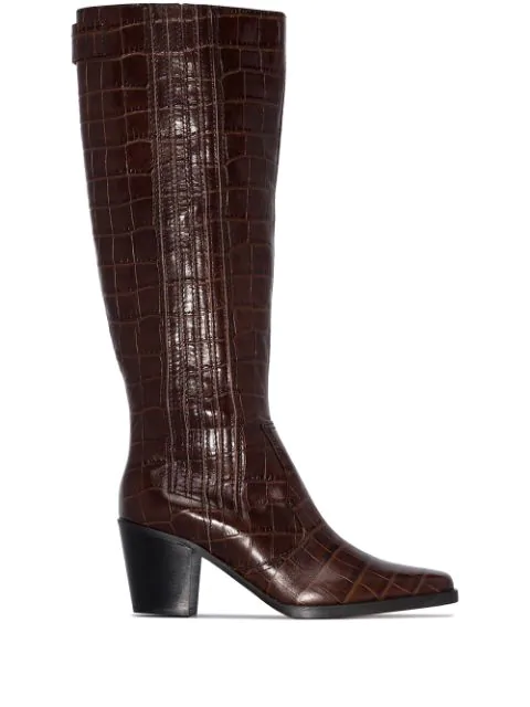 Ganni Western Knee High Boots In Brown Croc Embossed Calf Leather