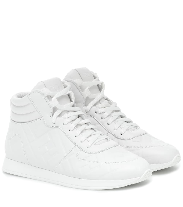 Fendi Logo-embossed Leather High-top Sneakers In White